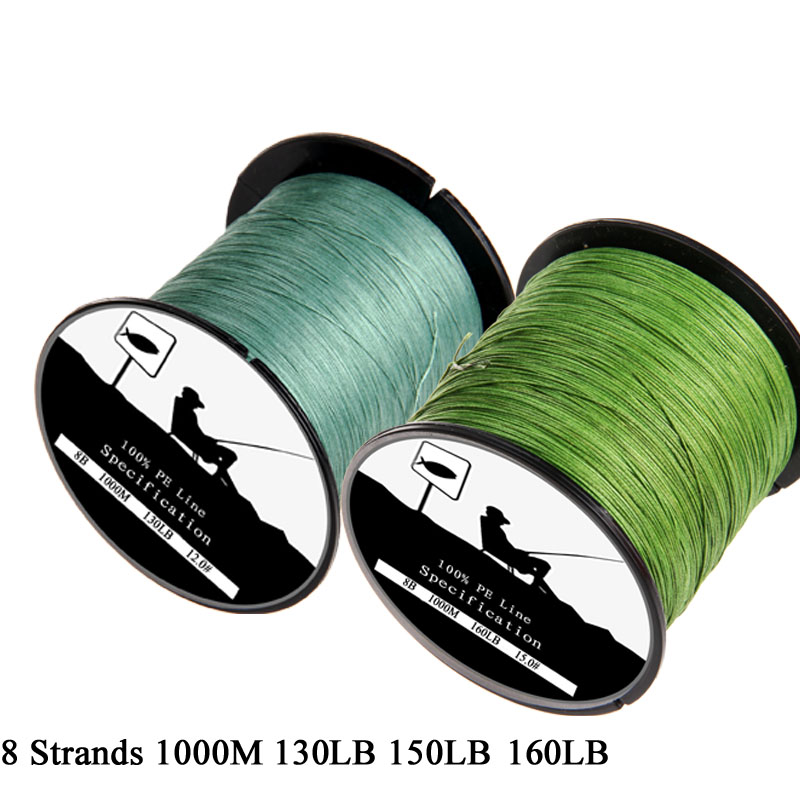 SLHEE Brand 1000M 8 Strands Weaves PE Braided Fishing Line Super Strong Multifilament 130LB 150LB 160LB Extreme Fishing Rope pro beros 300m pe multifilament braided fishing line super strong fishing line rope 4 strands carp fishing rope cord 6lb 80lb