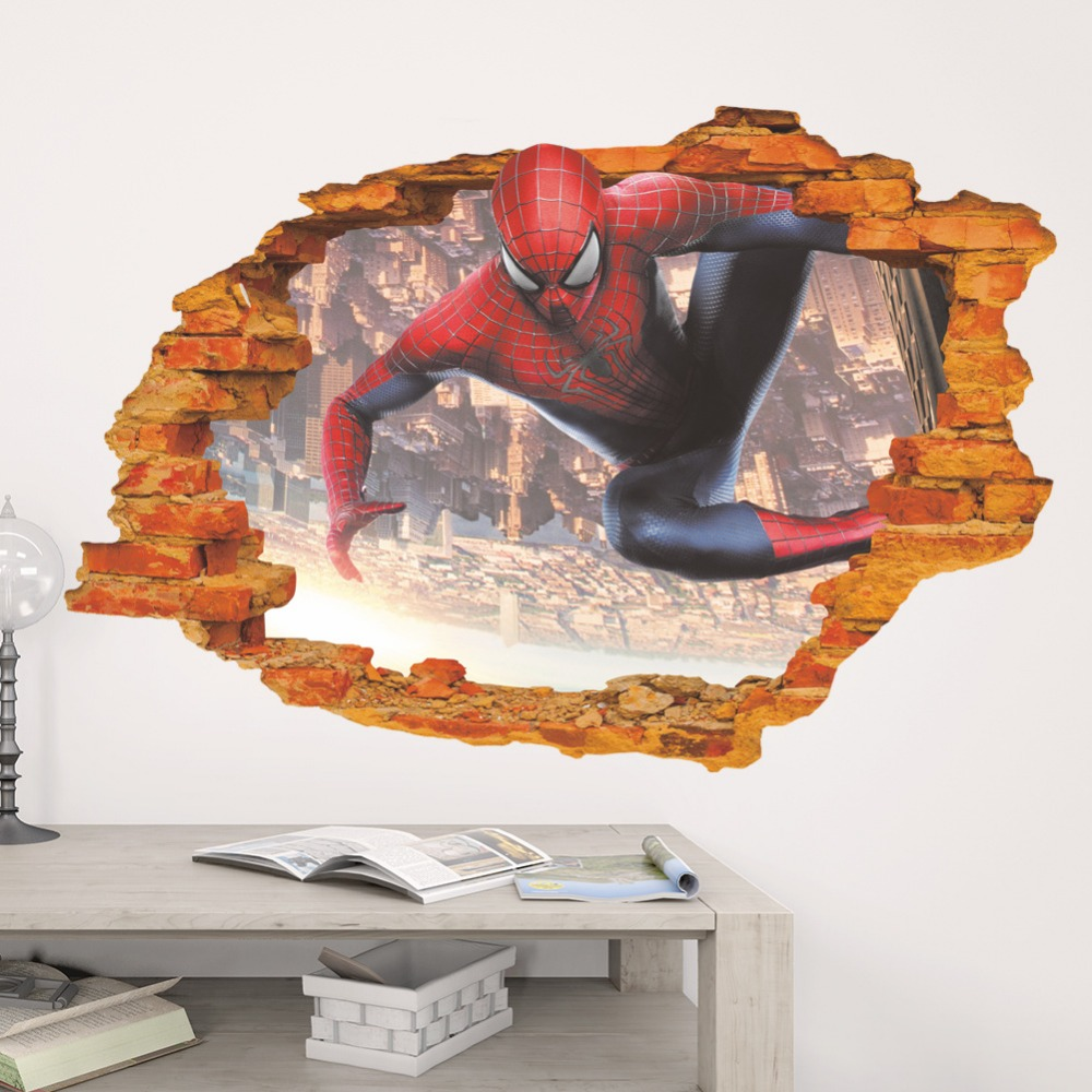 popular spiderman decoration buy cheap spiderman decoration lots cartoon animation heroes spiderman wall stickers home decor kids room bedroom study room wall decal