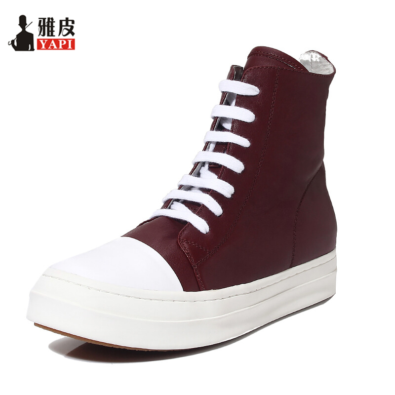 Hight Quality Genuine Leather Mens Ankle Boots Lace Up Martin Boots Boys Winter High-top Boots Fashion Sneakers