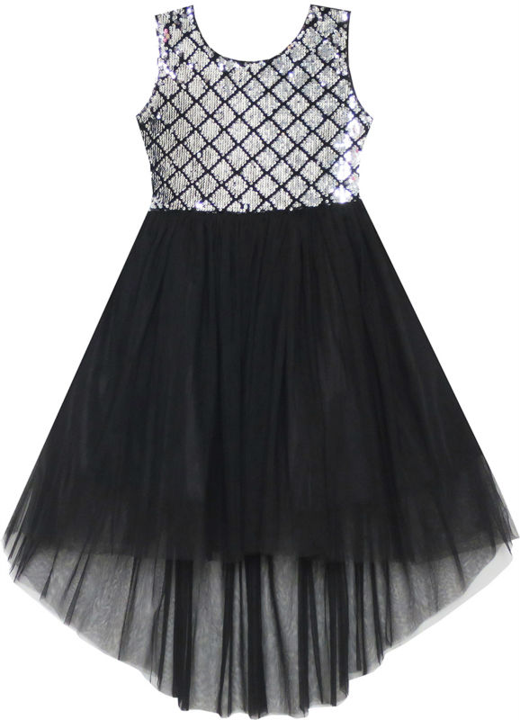 Sunny Fashion Girls Dress Black Sequin Mesh Party Wedding Tulle Kids Children Clothes 7-14 Girl Summer Princess Dresses Vestidos