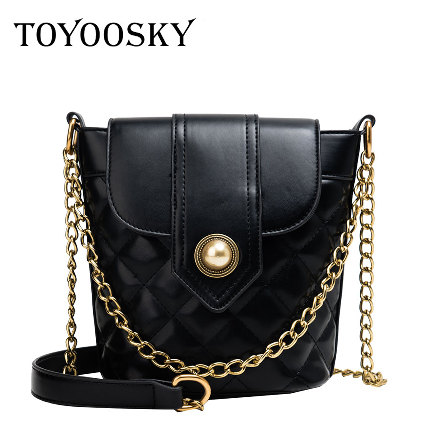 TOYOOSKY Fashion Quilted Plaid Women Shoulder Bags PU Leather Ladies Purse and Handbag Designer Crossbody Bags For Women in Shoulder Bags from Luggage Bags
