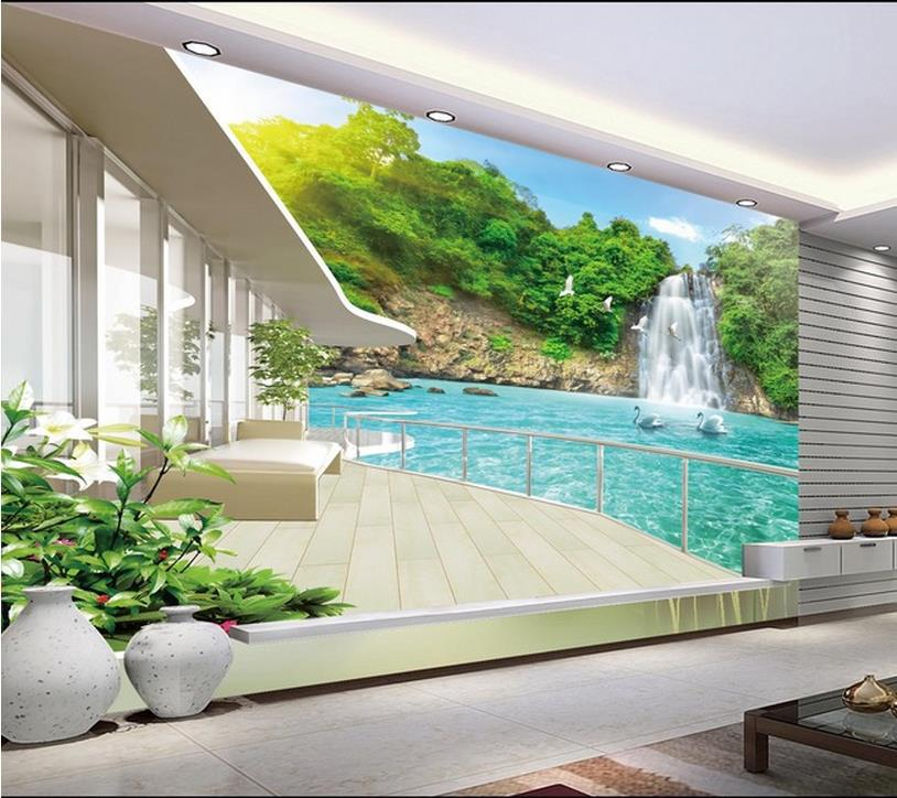 Modern Wall 3d Murals Wallpaper , Beautiful Waterfall