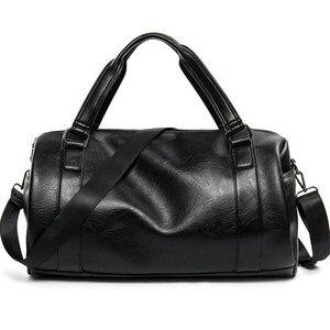 Мужская Дорожная сумка, вместительная, деловая, багажная, высокого качества, для отдыха, из натуральной кожи, сумка-тоут, Черная