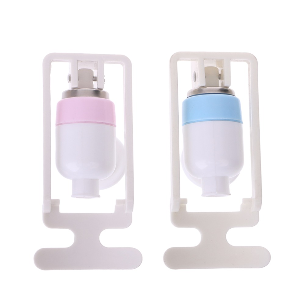 Water Dispenser Replacement Push Round Type White Plastic Tap Faucet 2 Pcs