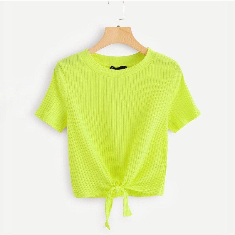 Knot Hem Rib-Knit Neon Top Green Women T-shirt