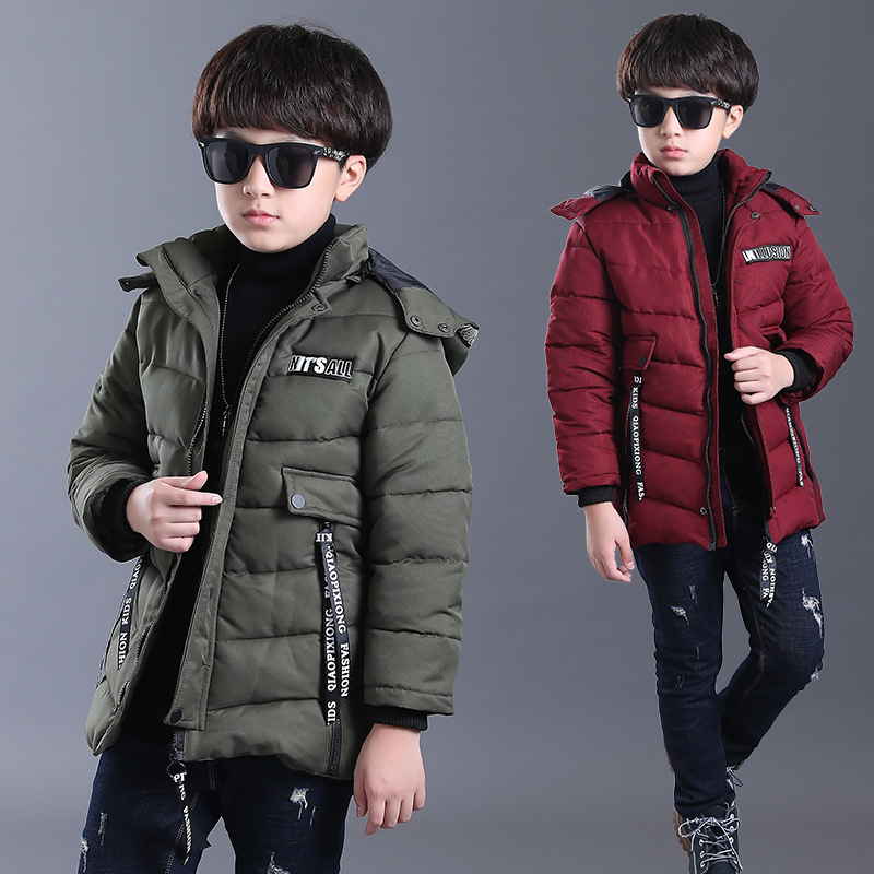 Children's clothing boys coat 2018 new winter boys jacket Korean version of children's long-sleeved casual cotton tide maternity clothing down jacket cotton clothing in the korean version of the long paragraph fashion thick hair collar coat