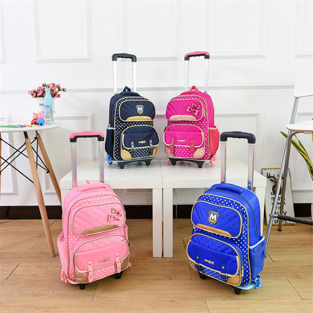 Children School Bags Mochilas Kids Backpacks With Wheels Trolley Luggage For Girls Boys backpack wholesale wheeled bag