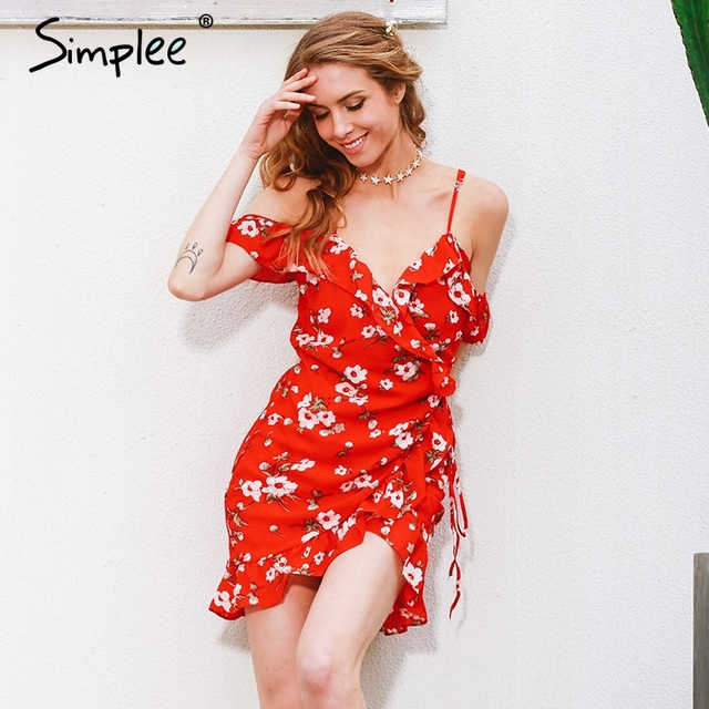 Simplee Cold shoulder ruffle print summer dress women High waist strap chiffon beach dress Boho party sexy dresses