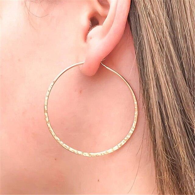 Hammered Hoop Earrings Personalized Handmade Vintage Gold Jewelry Brincos Girlfriend Party Gift Pendientes oorbellen Earrinngs