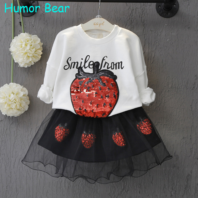Humor Bear Baby girl clothes Spring and Autumn long sleeve T-shirt + Strawberry elegant princess dress kids clothes