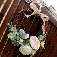 Wooden Artificial Flowers Wreaths Door Hanging Artificial Garland For Rustic Wedding Decoration Home Party Decor Shabby Chic
