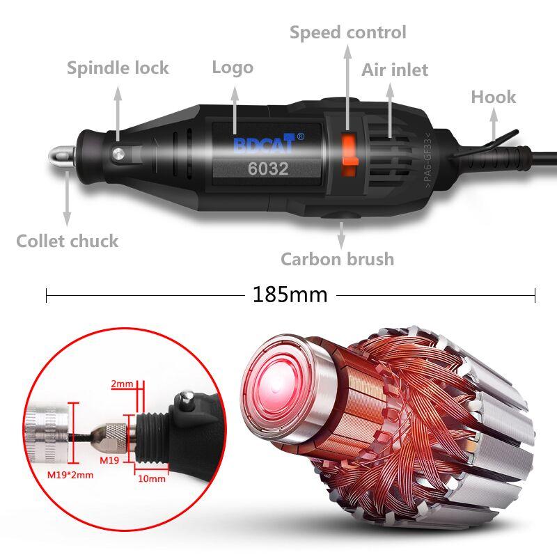 BDCAT 180 W Elektrische Dremel Mini Bohrer Polieren Grinder Maschine Variabler Geschwindigkeit Power Werkzeuge mit 186 stücke Dreh Werkzeug Zubehör