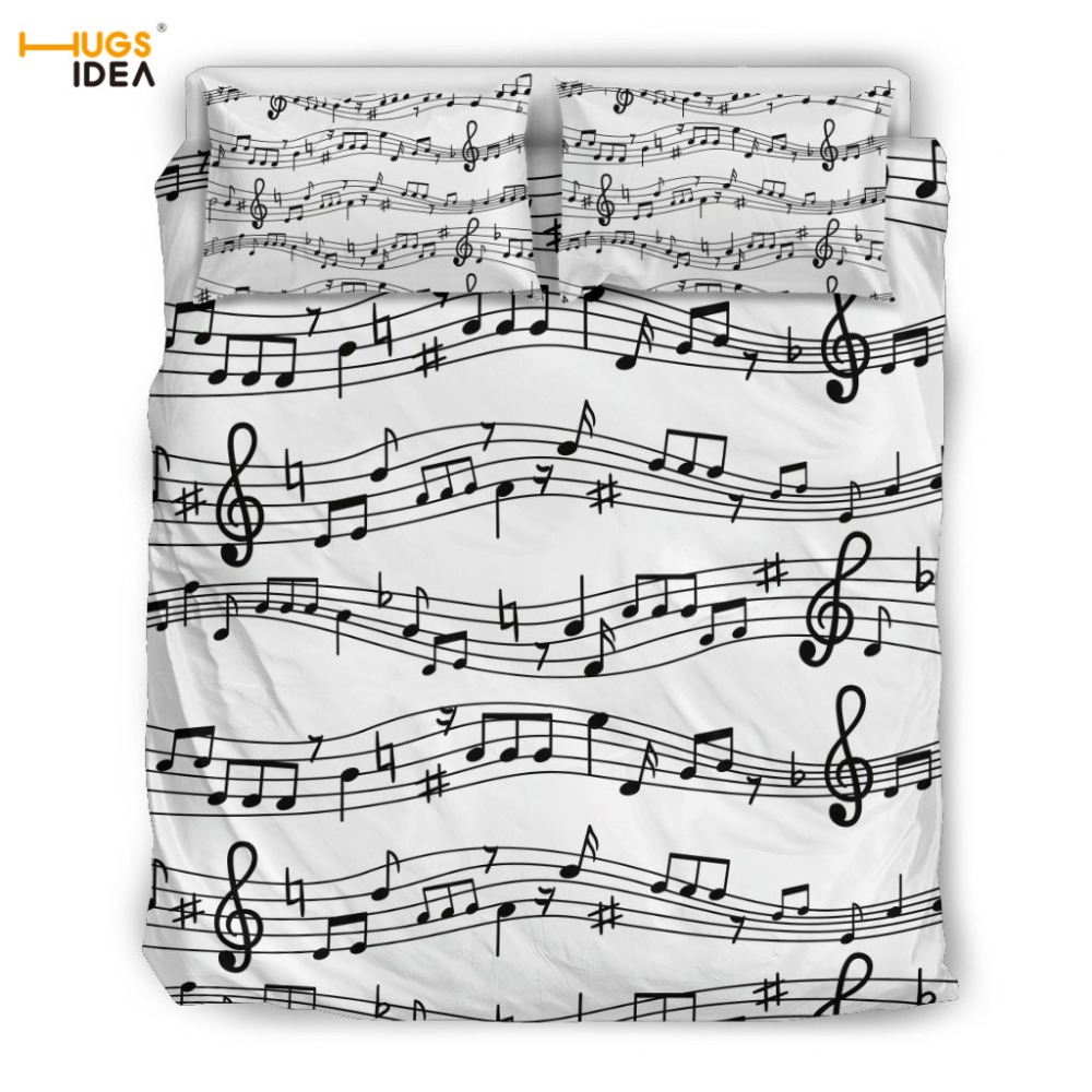 HUGSIDEA Music Note Print  Bedding Set Custom Duvet Cover 3D Bed Cover 3pcs/set Twin Single Size Bedding Set for Bedroom DecorHUGSIDEA Music Note Print  Bedding Set Custom Duvet Cover 3D Bed Cover 3pcs/set Twin Single Size Bedding Set for Bedroom Decor
