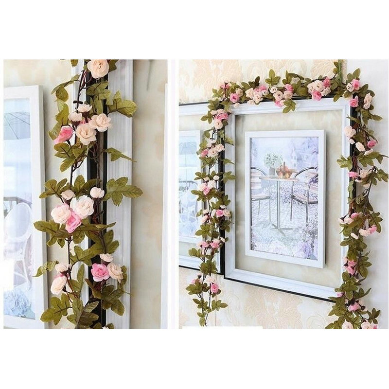 Shabby Chic Pink Rose 7.5ft Garland Flower for Wedding ...