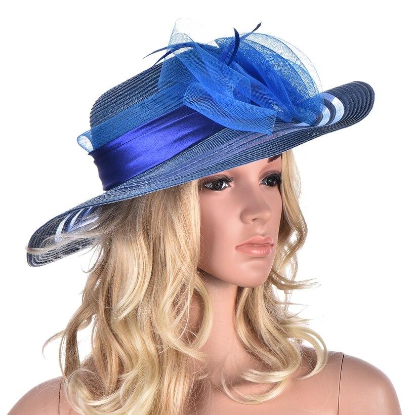 Verano de las mujeres sombrero de ala ancha Floppy sombreros pluma Floral  Kentucky Derby Iglesia sombrero de Sol para las mujeres playa del sombrero  del sol ... c241a715d1f