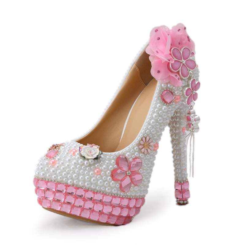 2016 Vogue White Pearl Formal Shoes Bridal High Heel Party Prom Shoes and Pink Crystal High Heels Bling Bling Rhinestone