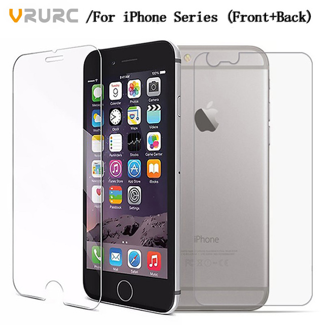 Vrurc 2PCS Front+Back Tempered Glass For iPhone 4 4s i6 i6s glass i6plus i6s plus i7 glass i7 plus Screen Protector