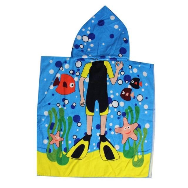 Boys Shark Hooded Towel Microfiber Beach Swimming Beach Towel
