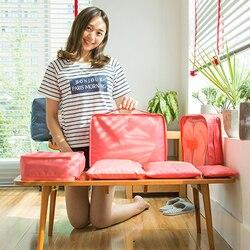6 teile/satz Mode Hohe Qualität Doppel-reißverschluss Wasserdichte Polyester Frauen Reisetasche Gepäck Organizer Verpackung tasche Cube Reisetasche