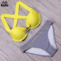 New Sexy Bikini 2016 Push Up Swimwear Female Swimsuit Vintage Beach Women Bathing Suits Swim Wear