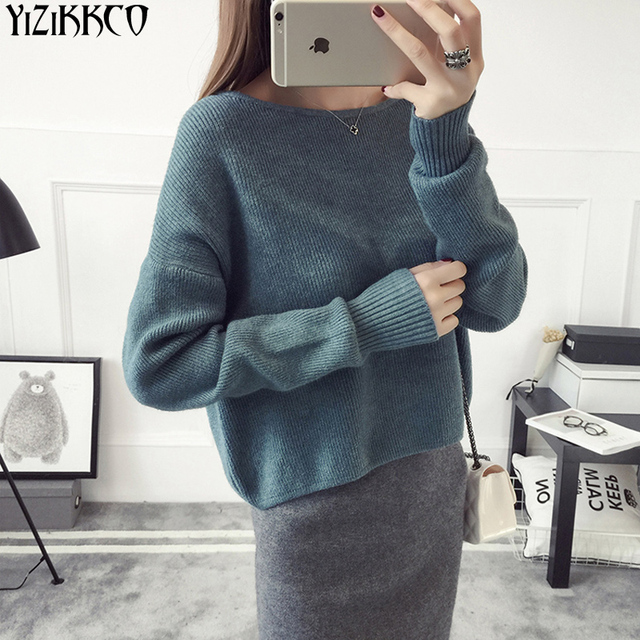 Women Sweater 2017 Spring New Fashion Knitted Pullovers High Quality Solid Sweaters Slash Neck Pull Femme Jersey Mujer SZQ159