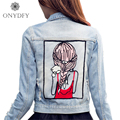 Girl pattern Appliques Denim Jacket Women Fashion Street Jeans Overcoat Boyfriend Style Casual Short Jackets For Women 2017