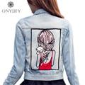 Girl pattern Appliques Denim Jacket Women Fashion Street Jeans Overcoat Boyfriend Style Casual Short Jackets For Women 2017