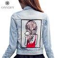 Padrão menina Apliques Denim Jacket Mulheres Moda de Rua Calça Jeans Casaco Estilo Boyfriend Casual Jaquetas Curtas Para As Mulheres 2017