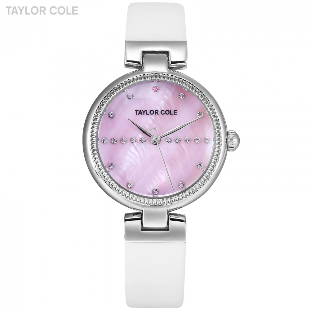 Taylor Cole Ladies Watches Women Watches Silver Crystal Case Pink Dial Watches White Leather Strap kadin saat Quartz Watch/TC115 taylor cole relogio tc013