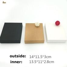 20 шт./лот 14x11,5x3 см черный/коричневый/белая крафт-бумага DIY ретро кошелек коробка платок с украшением Подарочная коробка с лентой по умолчанию черный