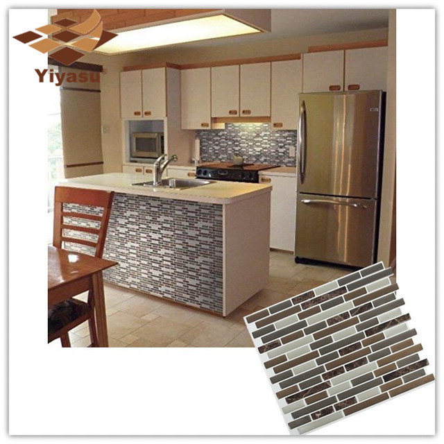 Self Adhesive Mosaic Tile Mixed Brown Marble Oblong 3d Wall Sticker
