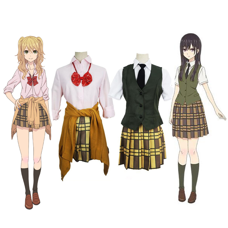 Anime Citrus Costume Aihara Yuzu / Aihara Mei School Uniform With Headband Halloween Christmas Cosplay Costume Party Dress