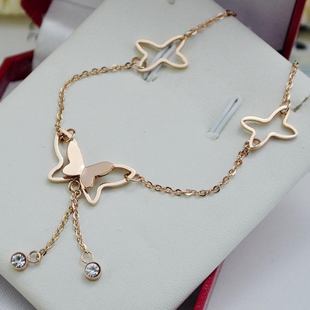 Fashion Jewelry Butterfly Pendant Tassel Rhinestone Ankle Bracelet Titanium Steel Anklet Beach Foot Chain For Women Girls