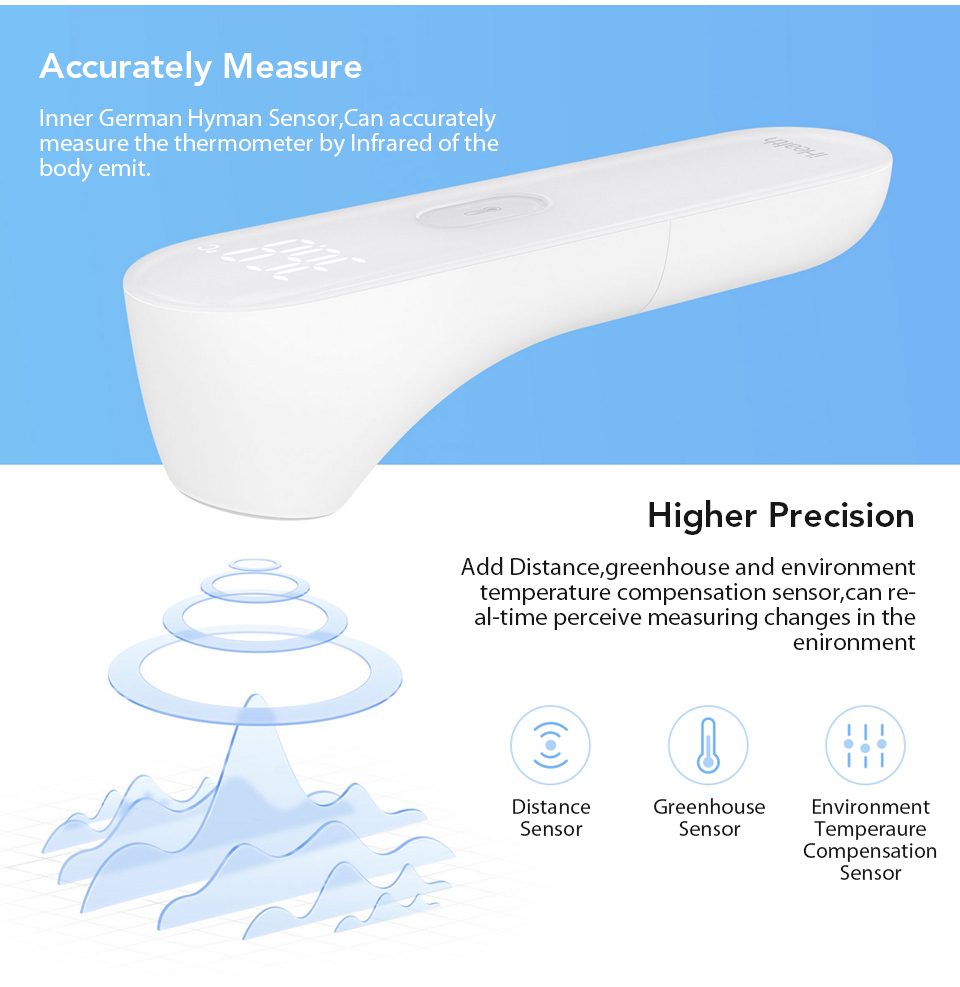 Original Xiaomi Mijia iHealth Thermometer LED Non Contact Digital Infrared Forehead Body Thermometer for Baby Kids Adults Elders (3)
