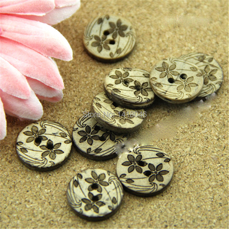Free shipping 100pcs 18mm 2 holes flower pattern round for Decorative buttons for crafts