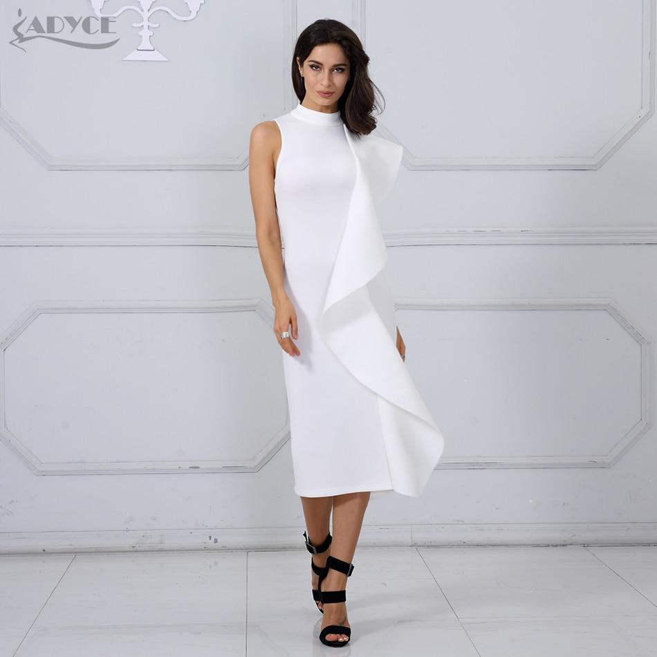2018 New Style Summer Women Dress Sexy White Sleeveless Patchwork Ruffles Bodycon Celebrity Party Dress Clubwear 1