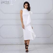 Adyce 2018 New Style Summer Women Dress Sexy White Sleeveless Patchwork Ruffles Bodycon Vestidos Celebrity Party Dress Clubwear