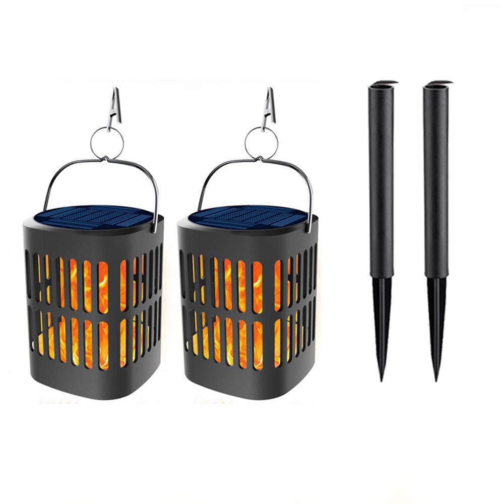 2 pièces Lanternes Solaires Lumières qui Clignotent Flammes Dansantes Suspendu Lanternes À Énergie Solaire et USB Charge Flamme Lumières D'eau Extérieure