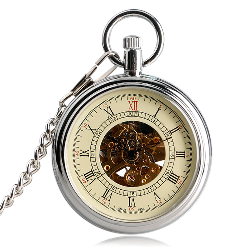 Luxury Steampunk Open Face Transparent Mechanical Pocket Watch Skeleton Silver Automatic Fob Watches Men Women Clock Unisex Gift steampunk mechanical silver black mental flower cover pocket watch chain women men watches free shipping p837 8c