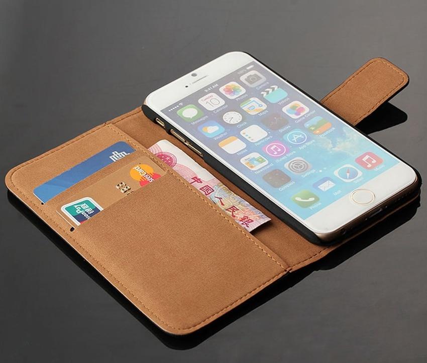 Äkta äkta läder plånbok väska Magnetlås Kickstand Flip baksida - Reservdelar och tillbehör för mobiltelefoner - Foto 5