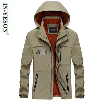 Brand IN-YESON Waterproof Windproof Jacket Men Thick Warm Thermal Fleece Outerwear Men's Jacket Military Windbreaker Coat Men