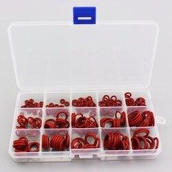PCP الألوان دائم المقبس سيليكون يا الدائري طوقا أحمر بدائل ختم O-خواتم سريعة المقرنات تركيب 15 الأحجام 225 قطعة = 1 مربع