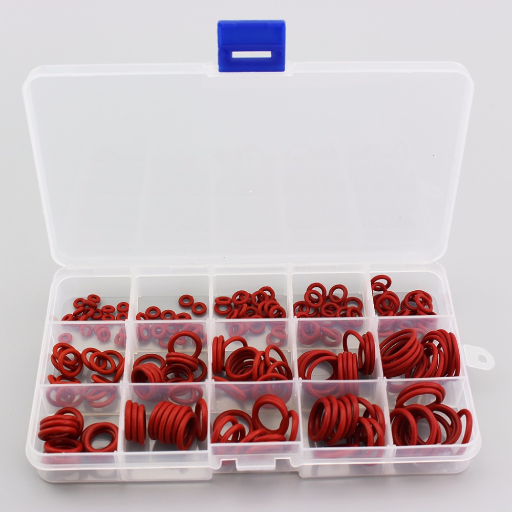 PCP Paintball Durable Socket Silicone O-ring Red Gasket Replacements Sealing O-rings Quick Couplers Fitting 15 Sizes 225PCS=1BOX