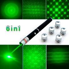 トップ品質6in1 5メガワット650nmの赤緑青レーザーポインターペンレーザー懐中電灯+ 5スターキャップビーム光、絞り、万華鏡