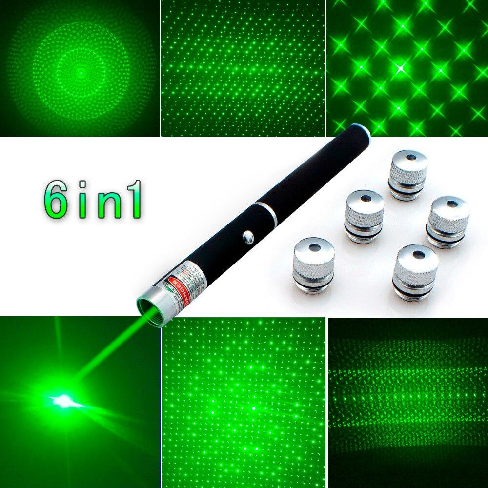 Top Quality 6in1 5mw 650nm Red Green Blue Laser Pointer Pen Laser Flashlight + 5 Star Caps Beam Light ,Aperture, Kaleidoscopic puntero laser verde