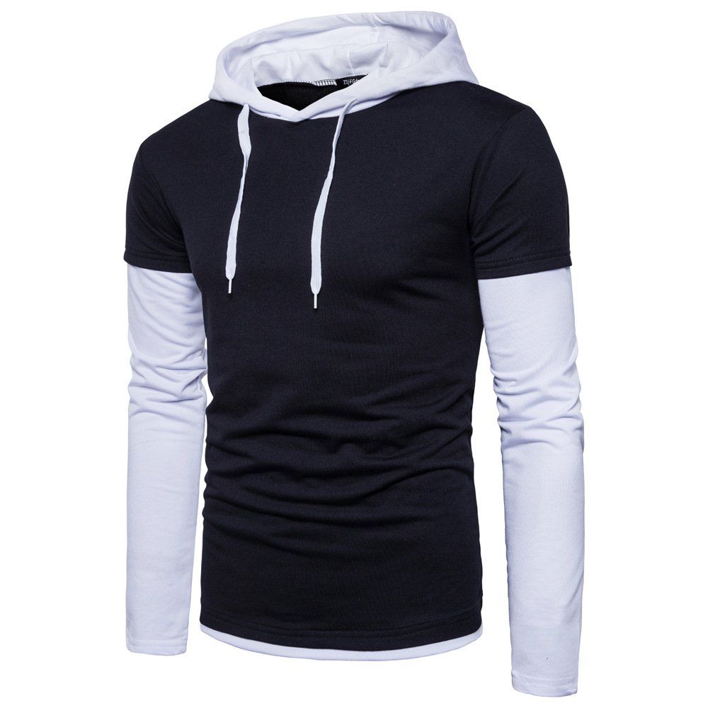 Autumn and winter new men's European and American stitching hedging fake two men's