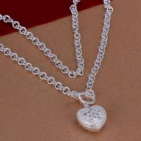 N022 925 sterling silver Necklace, 925 silver Pendant fashion jewelry  Inlaid Heart Key Necklace /aknajbua dwdamnka