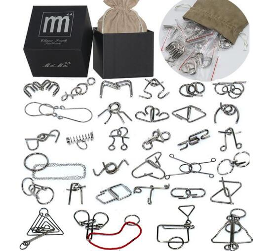 32PCS/Set Metal Wire Puzzle IQ Disentanglement Magic Brain Teaser Puzzles Game for Kids Adults