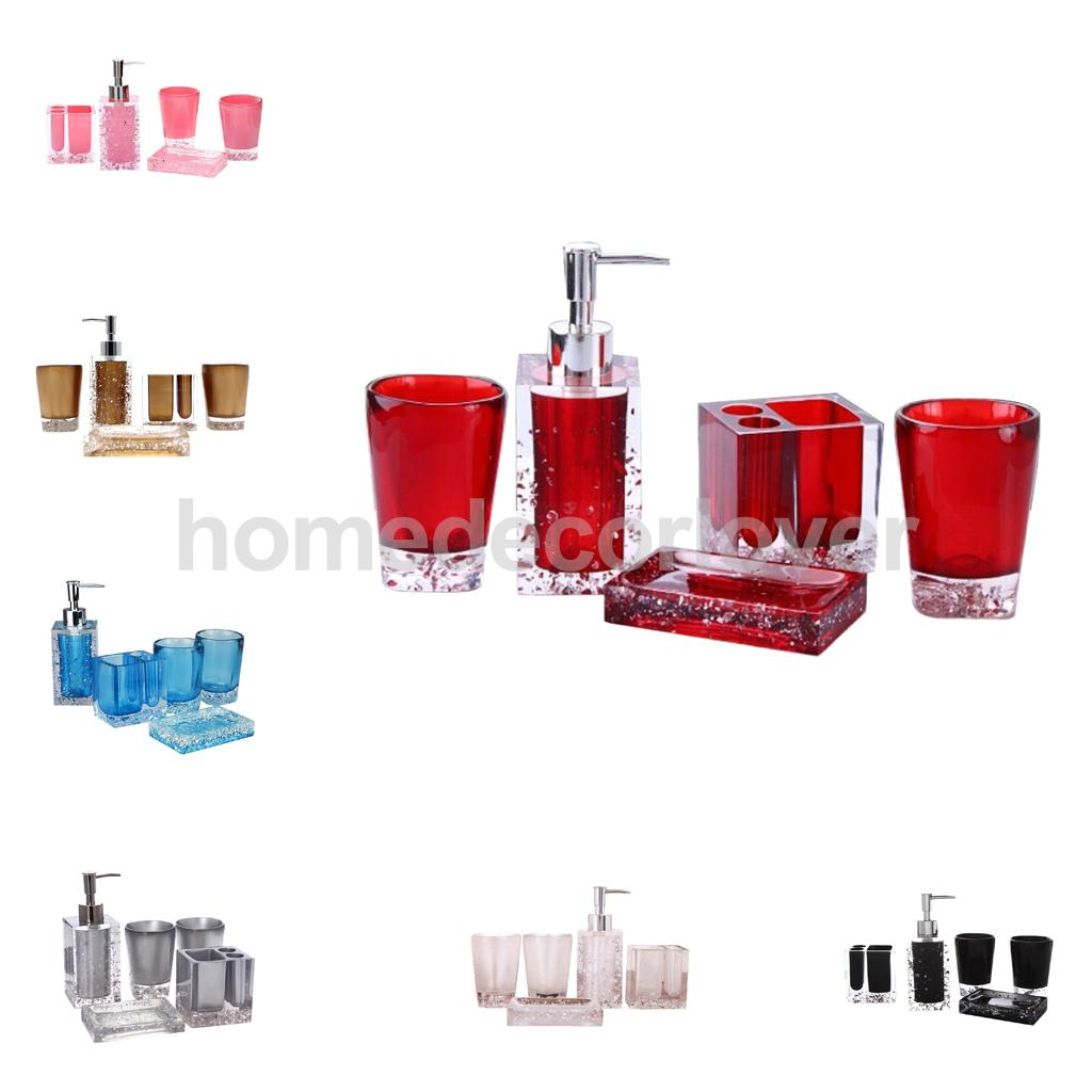 5Pieces Resin Bathroom Accessory Set Hotel Wash Kit Tooth Mug Red ...