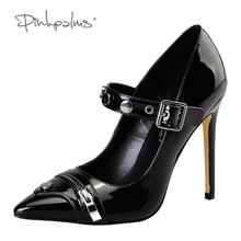 Pink Palms 2017 women summer shoes high heels  black color and metal zipper pointed toe basic classics pumps